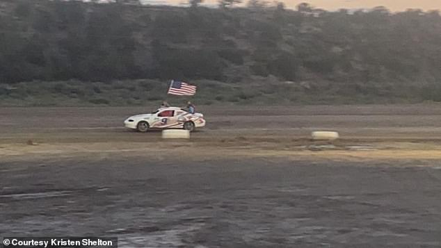 Shelton's aunt, Kristen Ray, posted video on her Facebook account showing a tribute to her late nephew. With the Star Spangled Banner playing in the background, her 10-year-old son, Evan Ray, drove a race car around a track while Shelton's brother, Hunter Shelton, held aloft an American flag in San Bernardino County, California, on Friday