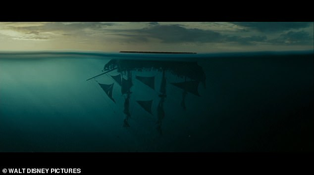 A scene from Pirates of the Caribbean: At World's End, when Captain Jack Sparrow's Black Pearl ship sinks