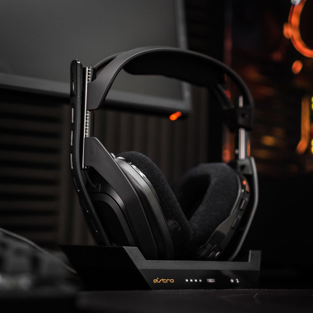 The Astro A50 for the Xbox and PC is shown here in its charging cradle.