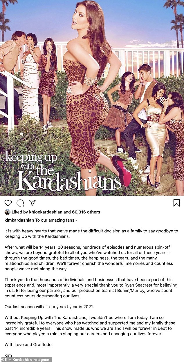 Conclusion: Earlier this week, Sister Kim announced KUWTK's decision on Instagram