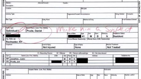 In an incident report filed by police officers, Daniel Proud & # 39; Circled in red next to a handwritten note, & quot; Make him a suspect. & Quot;