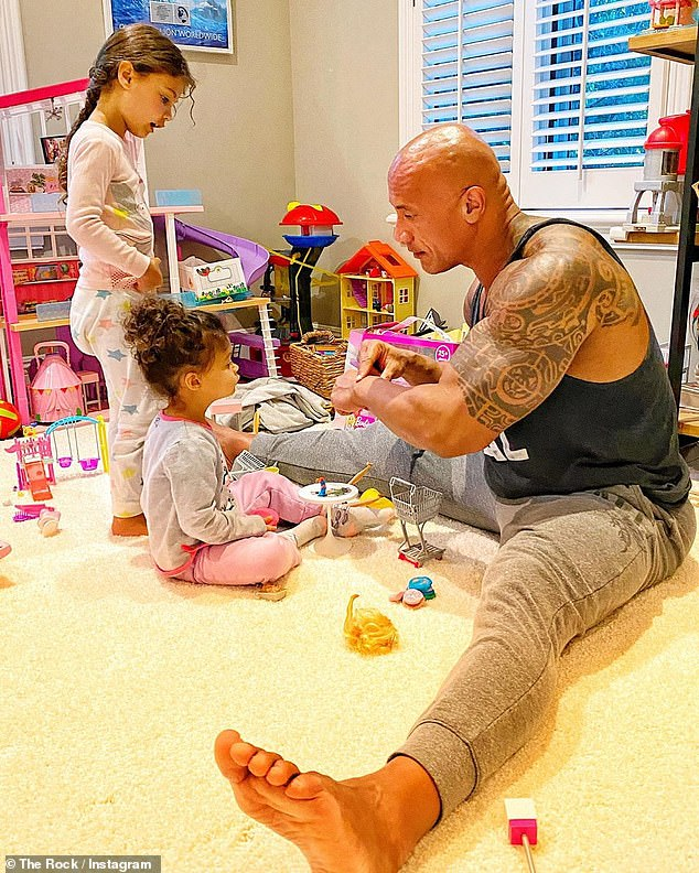 Point Father: 'He absolutely loves his women. They live without attention, so his girls can have a normal childhood ', a person in People said about The Rock