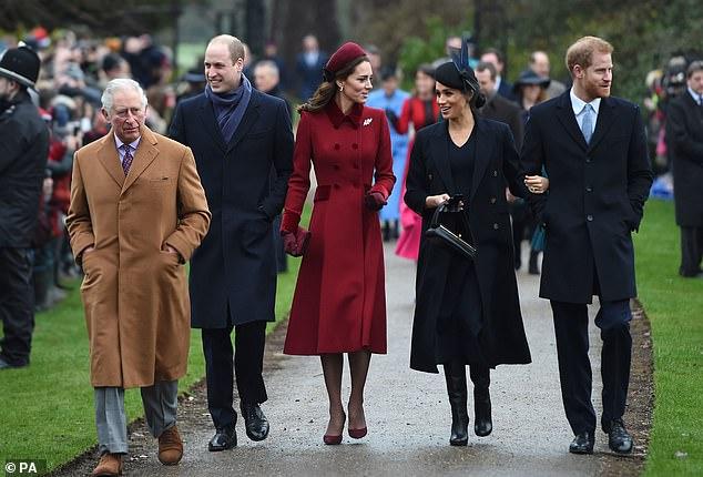 Prince Charles, Prince William, Kate, Megan and Harry at Sandringham in December 2018