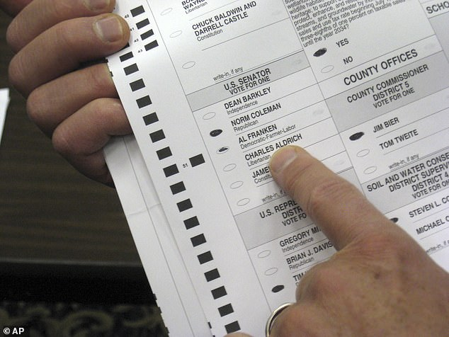 'Ballot harvesting', also known as 'ballot collection', is a legal practice in many states that allows third parties to collect votes on behalf of weak or disabled voters who are physically unable to go to the polls. In Minnesota, the law allows a third party to collect more than three votes. File photo above 2008 election poll in Minnesota
