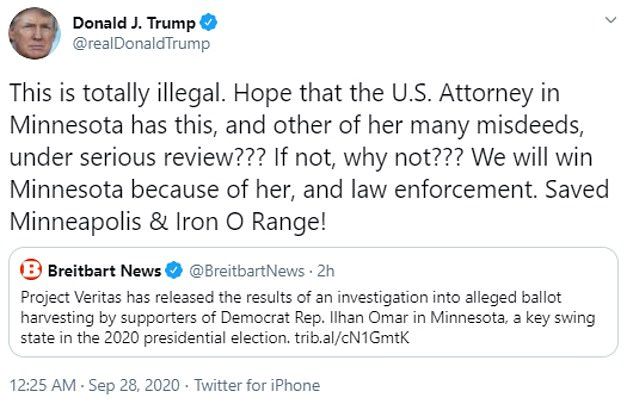 'This is completely illegal,' the president tweeted on Monday. 'I believe this and many of his misdeeds are under serious scrutiny for the American lawyer in Minnesota ??? If not, why not ??? '