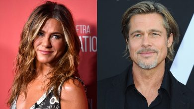 Photo of Jennifer Aniston as Brad Pitt reads 'Fast Times at Ridgemond High' table
