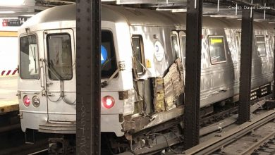 Photo of NYC subway crash: A train derails after hitting debris at a station in Chelsea, north of Manhattan