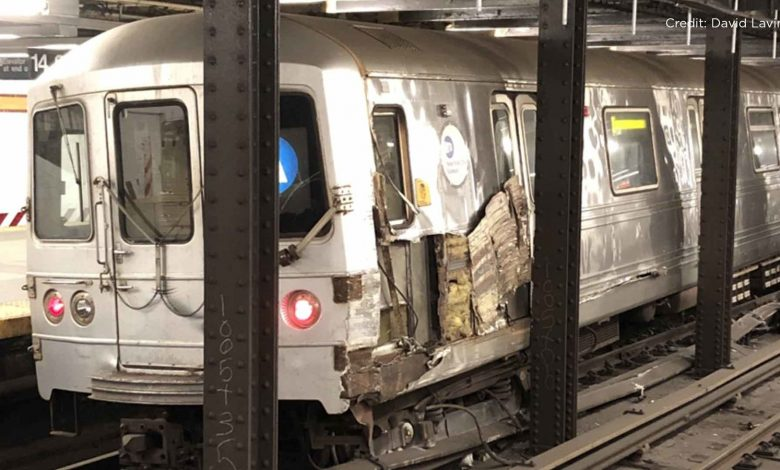 NY subway train goes off track due to abandoned trash