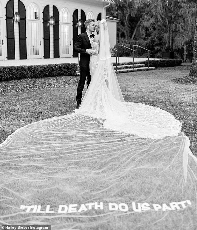 Elegant affair: Sorry the singer and Vogue model both posted stunning black and white photos from their splash weddings