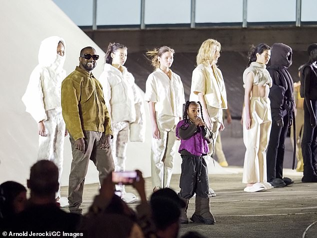 Just like Dad! Little North debuted his own Paris Fashion Week rap on March 2, while Espace was at Neymeyer's catwalk when his famous father Kanye West (L) presented his FW / 20 clothing collection