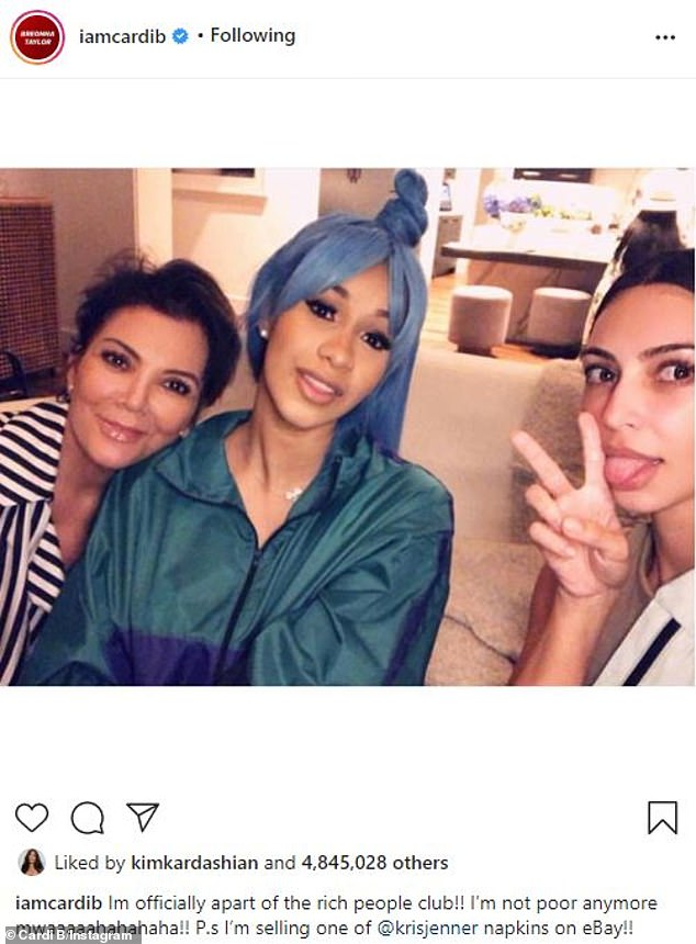 The real Cardi P (M) is a Grammy-winning rapper who visited Kardashian's home in Galapagos in 2018, jokingly saying: 'I'm officially from the Rich People's Club!'