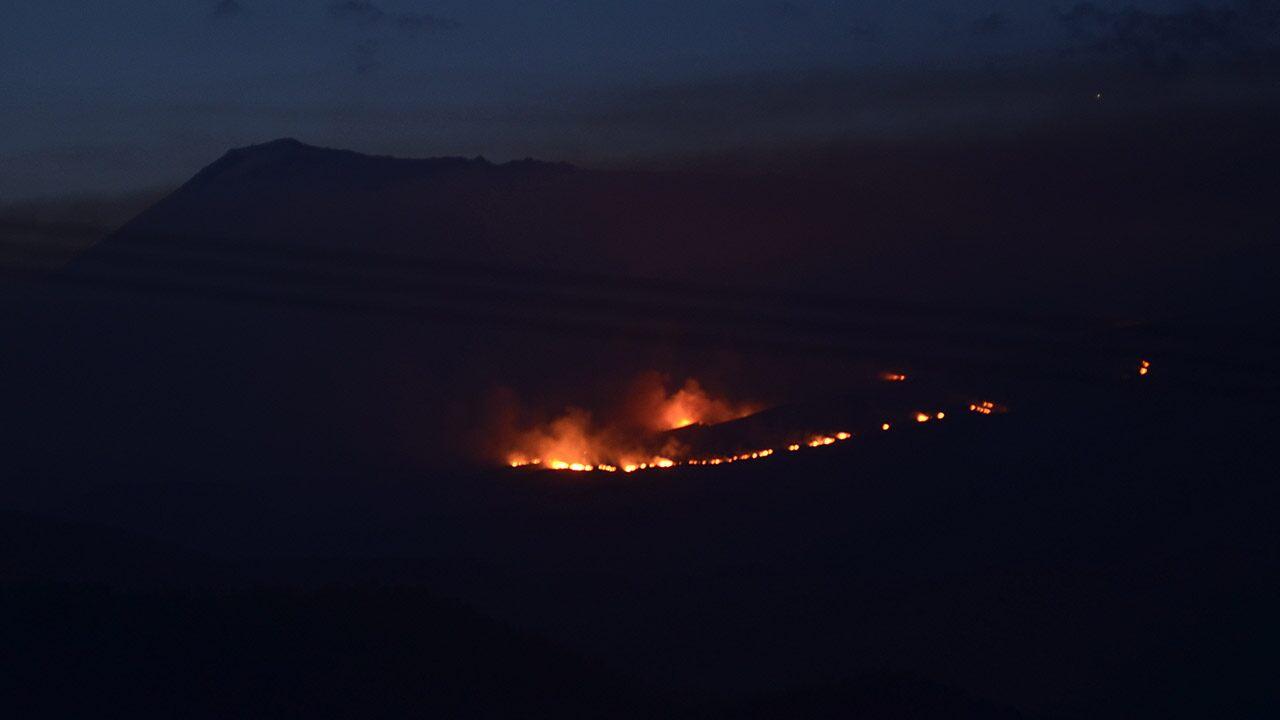 Firefighters fight on Mount Kilimanjaro