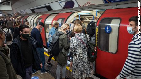 The three-tiered system was introduced on 23 September on the London Underground Tube Train with masked passengers.