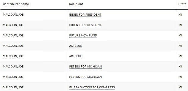 Federal election records indicate he donated thousands of dollars to the campaign of Midtown Biden and Michigan Senator Gary Peters.