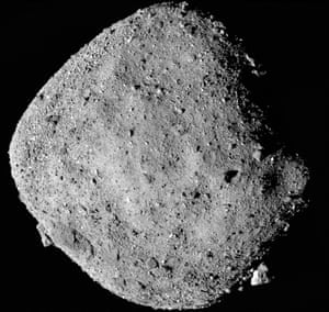 Asteroid mosaic image of Bennu taken by the Osiris-Rex spacecraft at a distance of 15 miles (24 km).