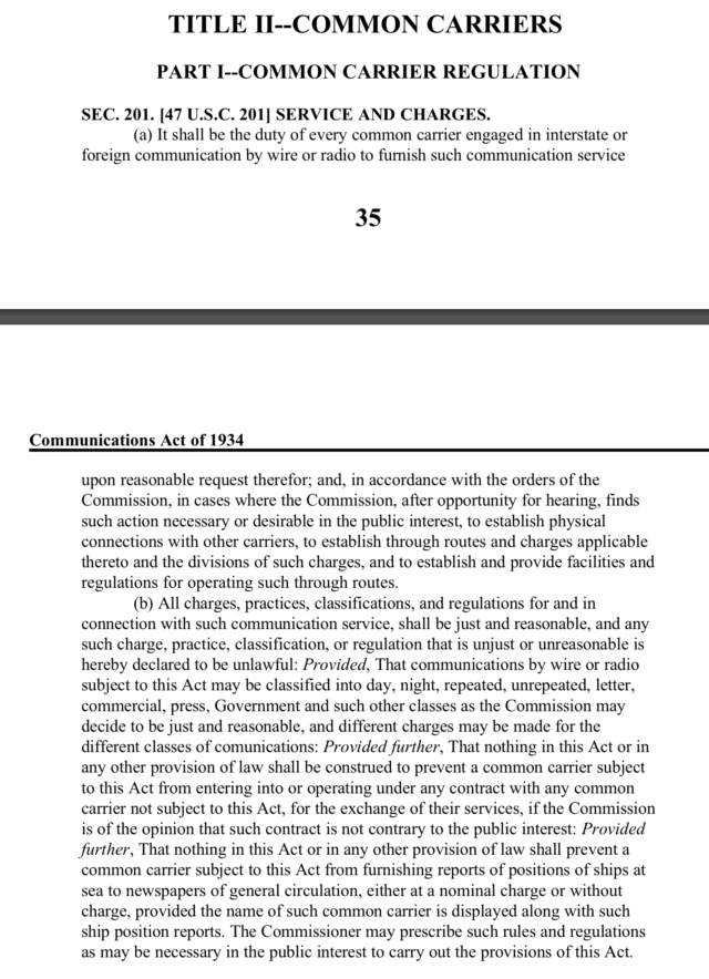 Section 201 of the Communications Act.