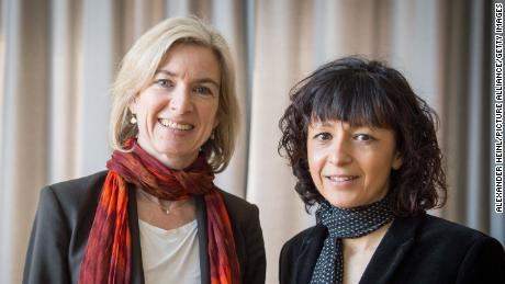 American biochemist Jennifer A.  Doudna (left) and French microbiologist Emmanuel Sarpentier photographed together in 2016.