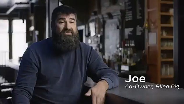 Joe Malcolm, co-owner of Ann Arbor Bar, describes a recent ad published by Joe Biden's campaign, who is a wealthy 'angel investor' in technology startups in Michigan.
