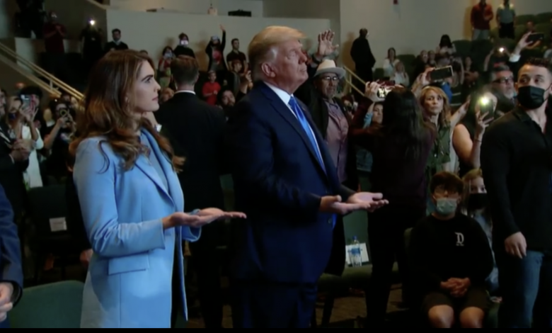 There are some masks and social distances in the church service that Trump attended