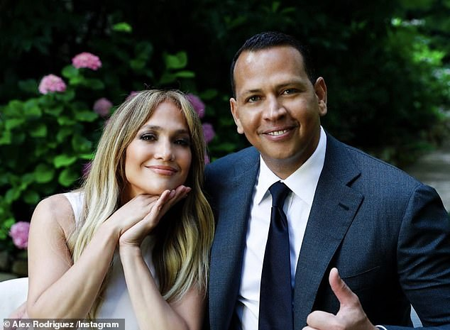 Happy couple: Jay-Low's latest appearance as he and his fiance Alex Rodriguez, 45, recently approved Joe Biden as president