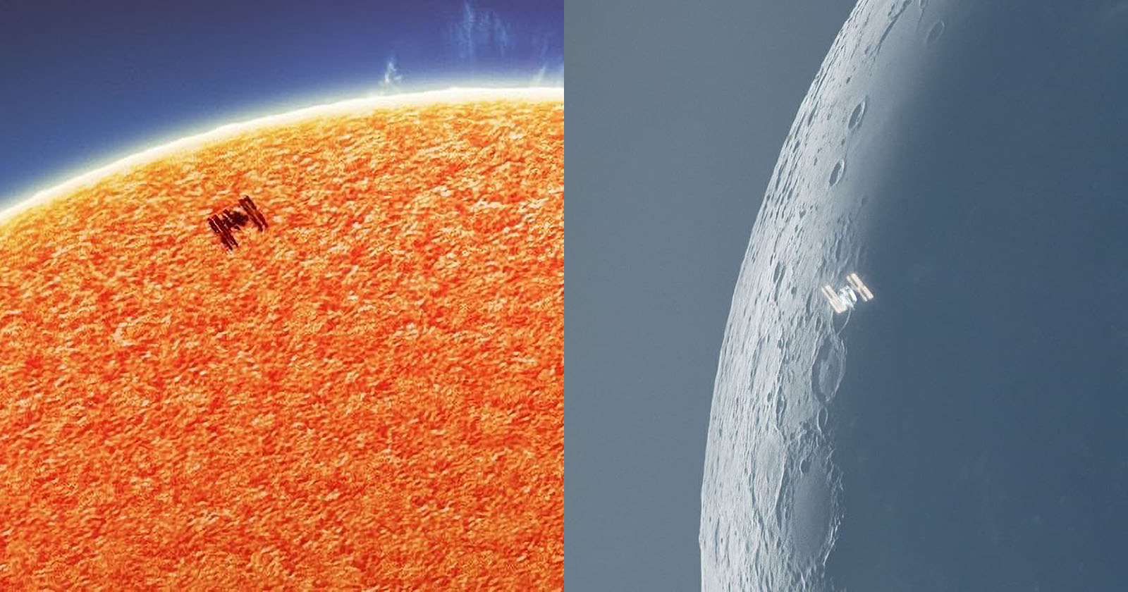 Photographer ISS crossing the sun and moon from his backyard