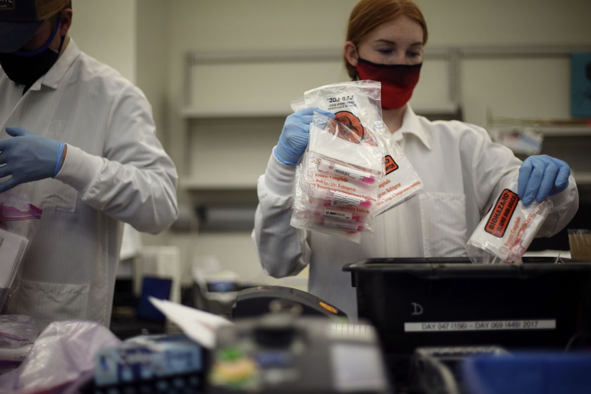 Laboratory technician Sadie Ann Thomas performs COVID-19 tests on November 13, 2020 at the Utah Public Health Laboratory in Taylorsville.
