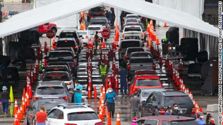 Vehicles line up this month at the Drive-Through Corona virus testing center in Miami Garden, Florida.