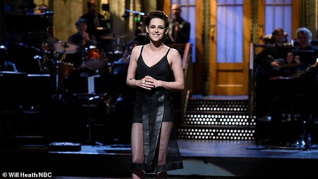 'So Q!'  However, during a talk on Donald Trump during his successful Saturday Night Live hosting show in 2017, Kristen was the 'most gay' (pictured).
