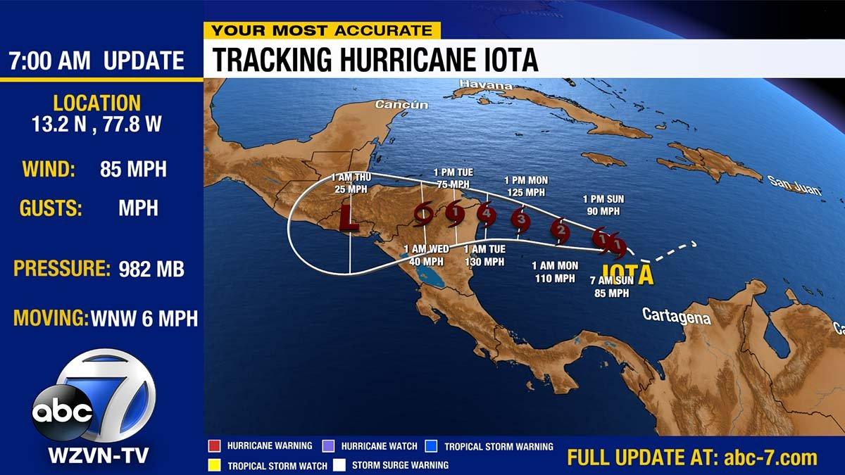 Hurricane Iota is fast gaining strength