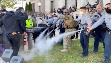 Photo of Police used pepper spray to break up a North Carolina march into a polling station