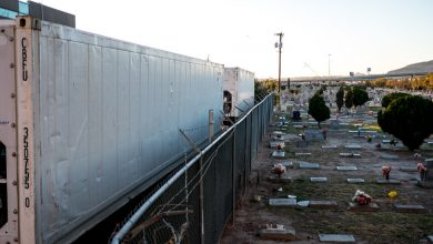 Photo of Upon admission to the hospital, El Paso arrives at the new mobile morgue