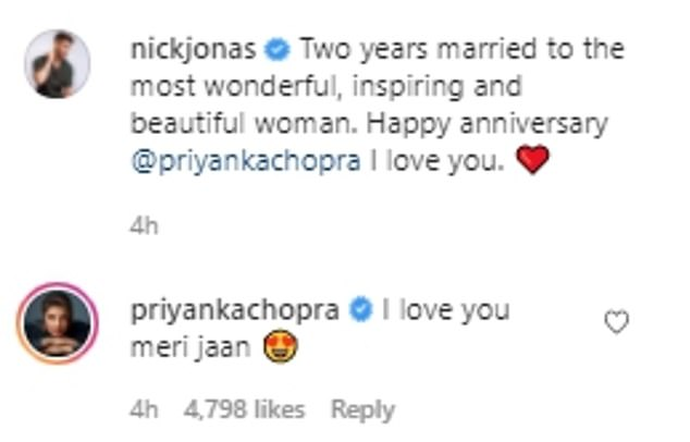 Fantastic: When Nick shared scenes from their stunning weddings in 2018, he wrote: 'Two years of being married to the most amazing, inspiring and beautiful woman.  Happy Anniversary Priyanka Chopra I Love You.  .