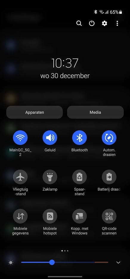 Where is the new Android 11 power menu in Samsung's One UI 3.0?