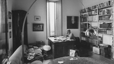 John Le Carr at his desk in August 1974 at home.