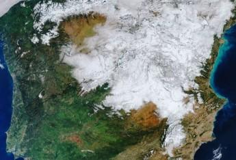 Special image of white Spain from space