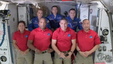 It's a packed house on the International Space Station with 7 people - and Baby Yoda