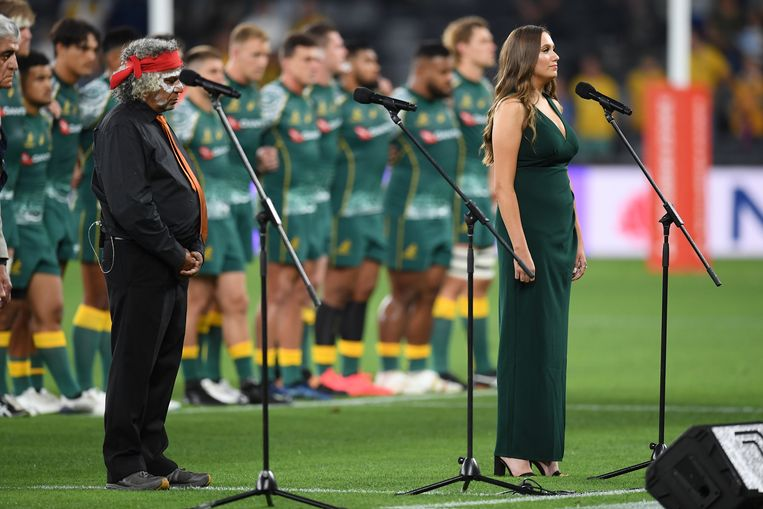 Rugby players sing the Australian national anthem in the Aboriginal language.  A first