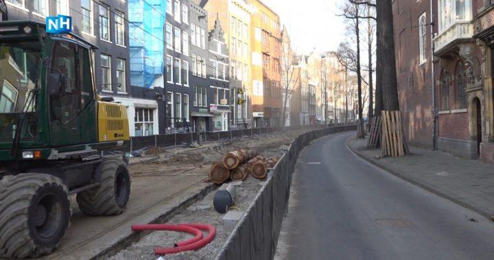 Felled trees on Nieuwezijds Voorburgwal