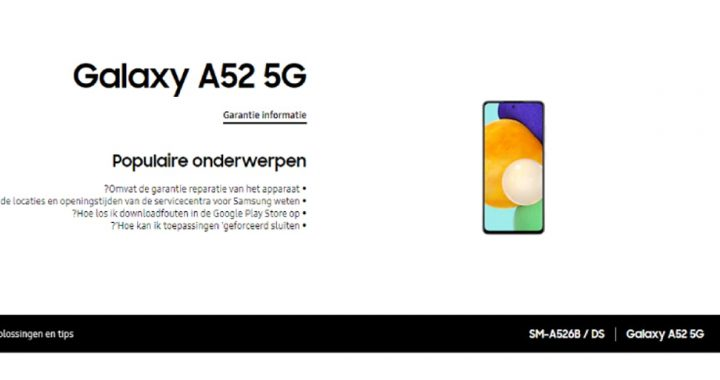 Samsung itself leaks Galaxy A52 and A72 early on its website