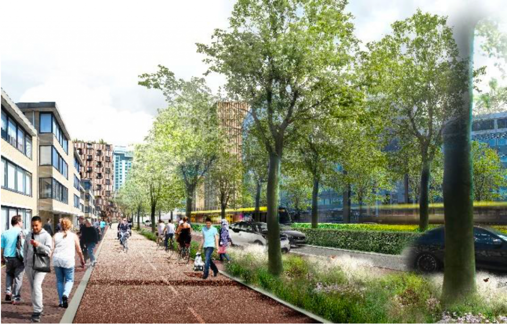Here are the plans of the Graadt van Roggenweg;  Less space for cars and top speed at 30 km / h