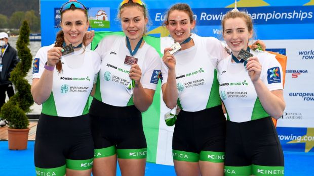 Silver medals were won by Ivrik Keogh, Emer Lambi, Fiona Mortag and Emily Hegarty of Ireland after placing second in the women's quartet final at the European Rowing Championship in Varese, Italy on Sunday.  Photo: Detlev Seib / Info