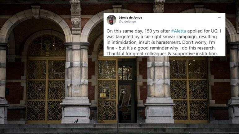 De tweet die de universitair docent heeft gedeeld (Foto: ANP/Beeldbewerking RTV Noord)