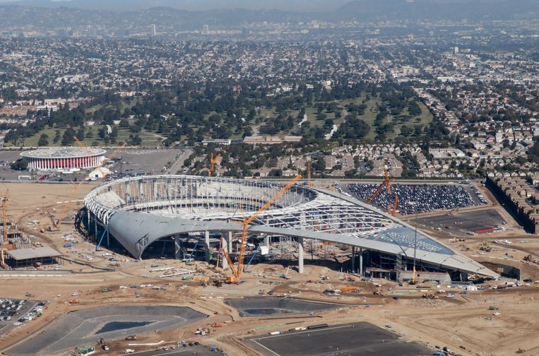 The SoFi stadium under construction.  Dutch Height Image / AFP