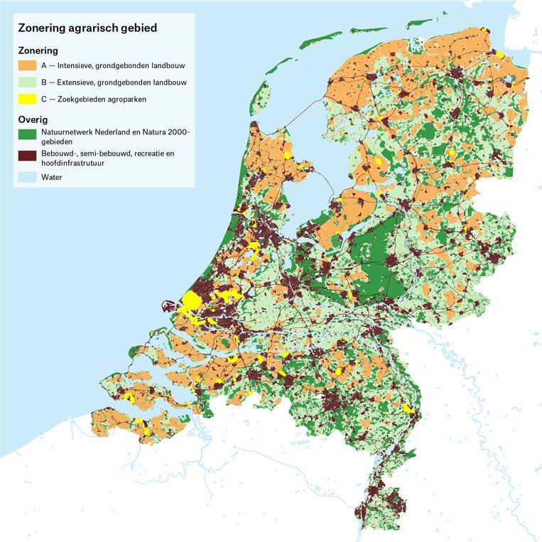 Zoning of the Netherlands in different agricultural areas.  Image by Delta Metropolis Association, based on analysis by Martha Bakker and colleagues.