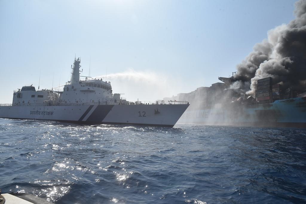 Fire on the Maersk Honam (Photo Wikipedia)