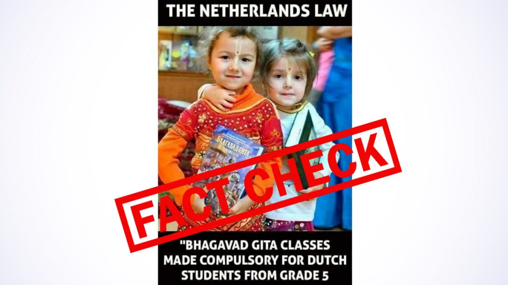Want to make the Bhagavad Gita fun in schools in the Netherlands from group 5?  Ancient image of two little girls holding Hindu sacred texts is spreading very quickly with a false claim