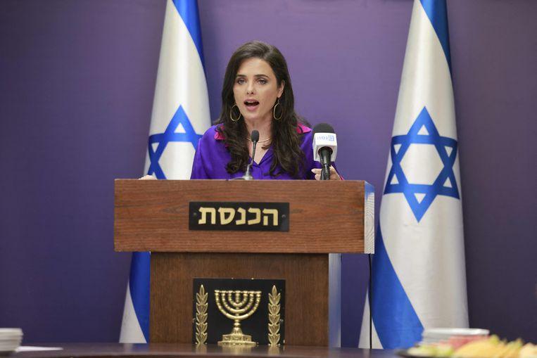 Israeli Interior Minister Ayelet shaken in the Knesset.  AFP Image