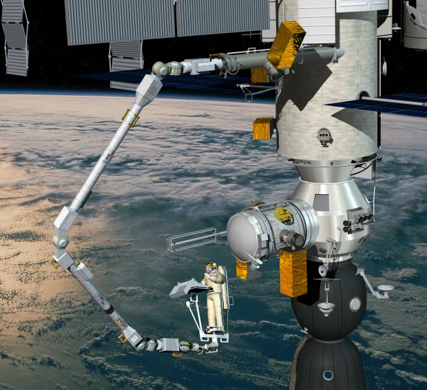 Impression of the European robotic arm ERA, attached to the Russian Nauka