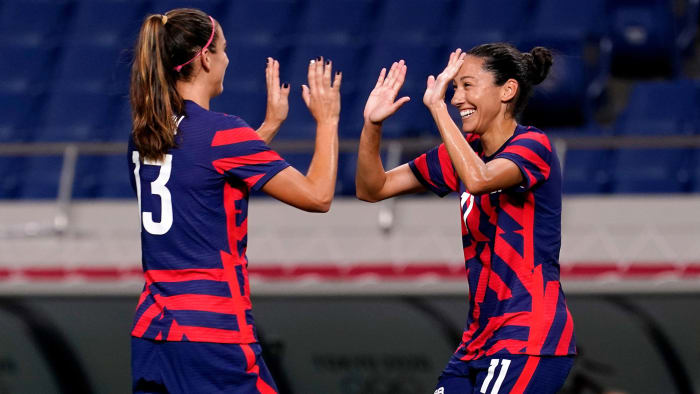 USWNT's Alex Morgan and Kristen Press celebrate a goal against New Zealand