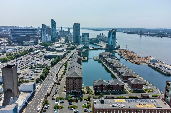 An aerial view of the historic port area of Liverpool, now off the list.